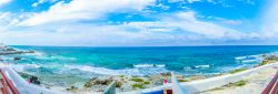 Panorama View of Caribbean Sea from roof of Casa Música del Caribe
